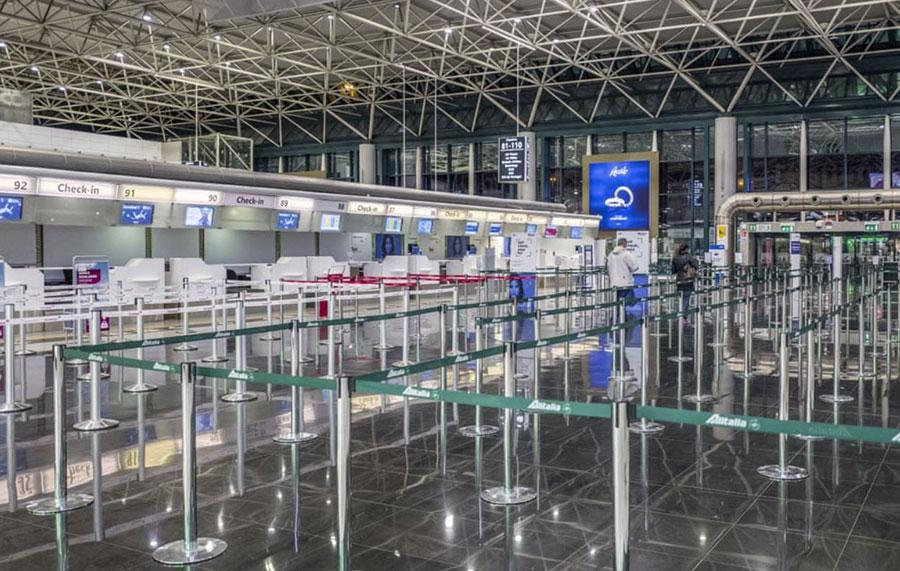 خلوتی فرودگاه بینالمللی لئوناردو داوینچی در شهر روم ایتالیا