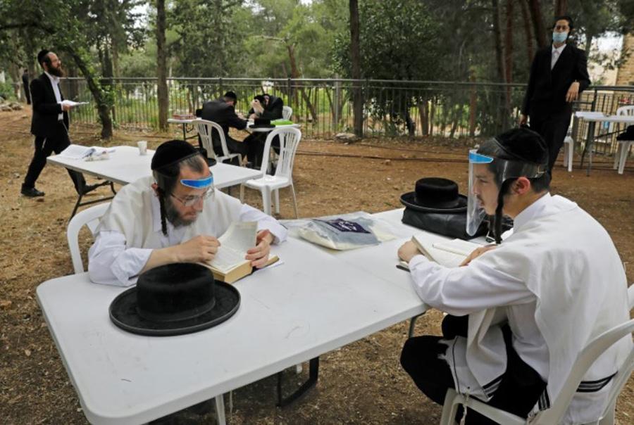 کلاس آموزش دروس دینی یهودیان ارتدوکس در فضای باز پارکی در شهر قدس