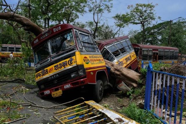 نصف شدن اتوبوس در اثر سقوط درخت در توفان در کلکته هند
