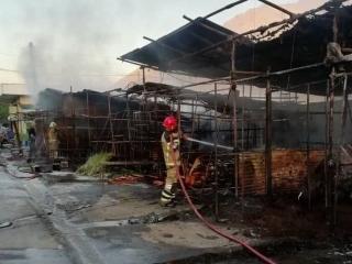 32 غرفه از بازار گل تهران در آتش سوخت