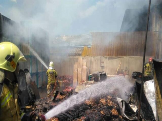 آتش سوزی در انبار لاستیک در محدوده پامنار